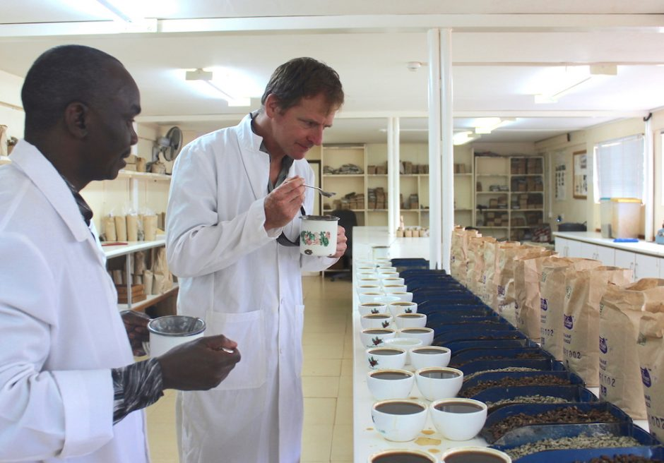 Dirck SIckmuller, cupping coffe in Kaimbu County, Kenya.