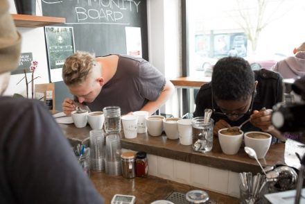 Coffee cupping at Street Bean Coffee Roasters